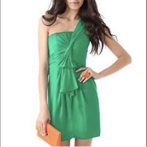 BCBGMaxazria One Shoulder 2P Green Silk Dress